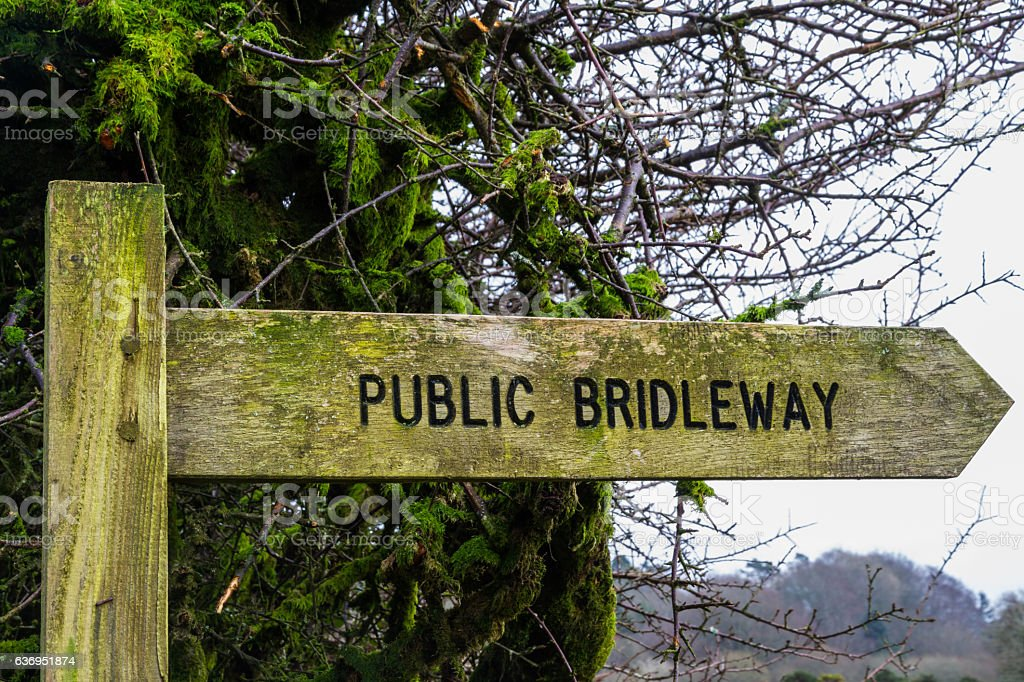 Wooden Bridleway sign stock photo