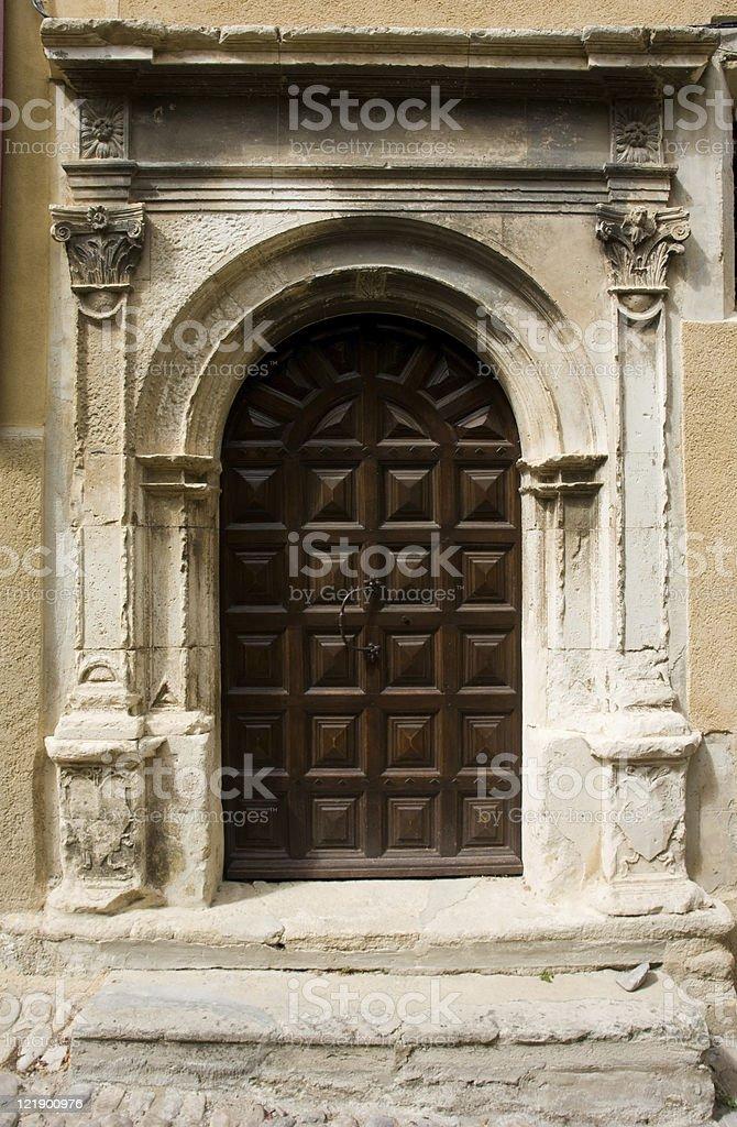 Wooden brown door royalty-free stock photo