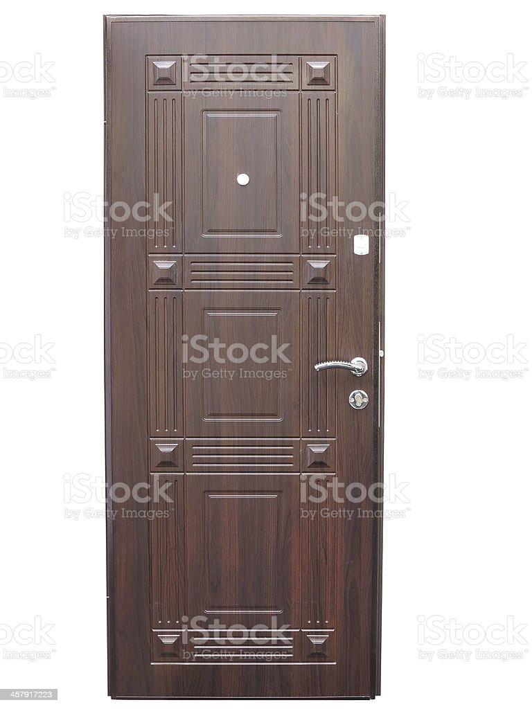 Padrão integral de madeira porta da frente isolado sobre o branco foto de stock royalty-free