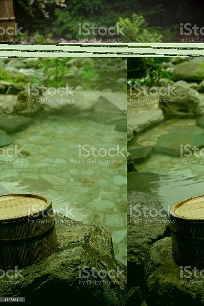 Wooden bucket by a hot springs bath, Hakone, Japan stock photo