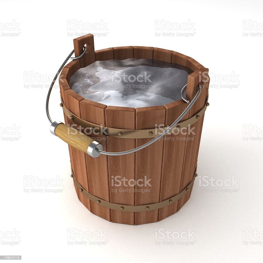 wooden bucket of water on white background royalty-free stock photo