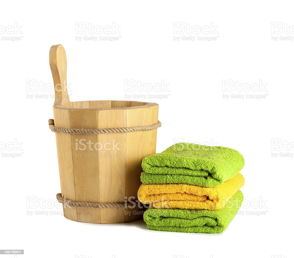 Wooden bucket with ladle for the sauna royalty-free stock photo
