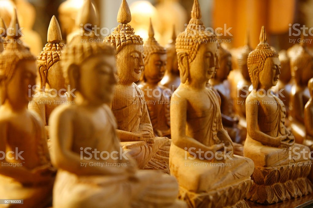 Wooden Buddhas royalty-free stock photo