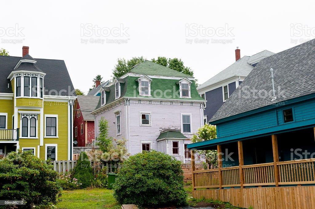 Wooden Building in Louisbourg - Nova Scotia - Canada stock photo