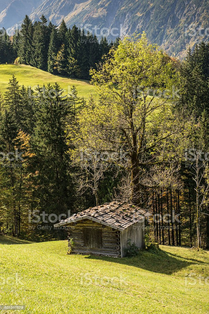 Wooden cabin in a Bavarian valley stock photo