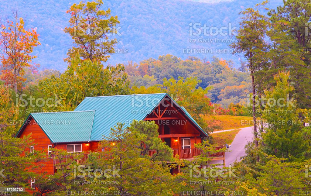 Wooden cabin in Pigeon Forge stock photo