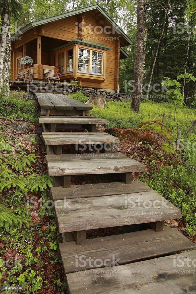 Wooden cabin stock photo