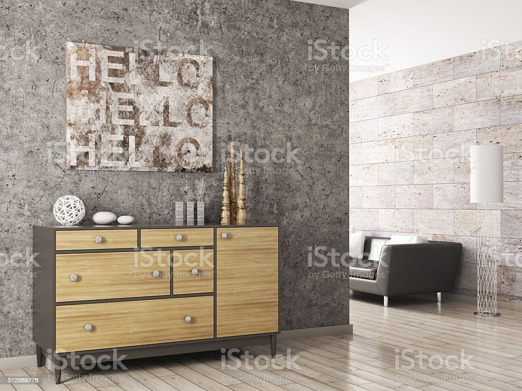 Wooden cabinet against concrete wall 3d render stock photo