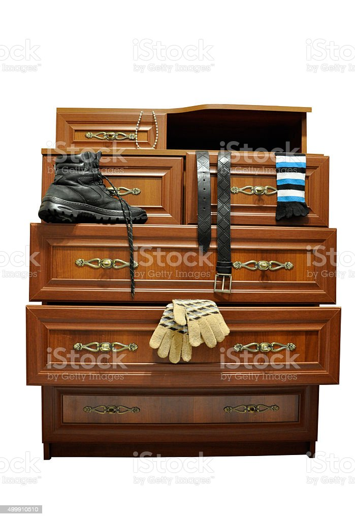 Wooden cabinet. stock photo
