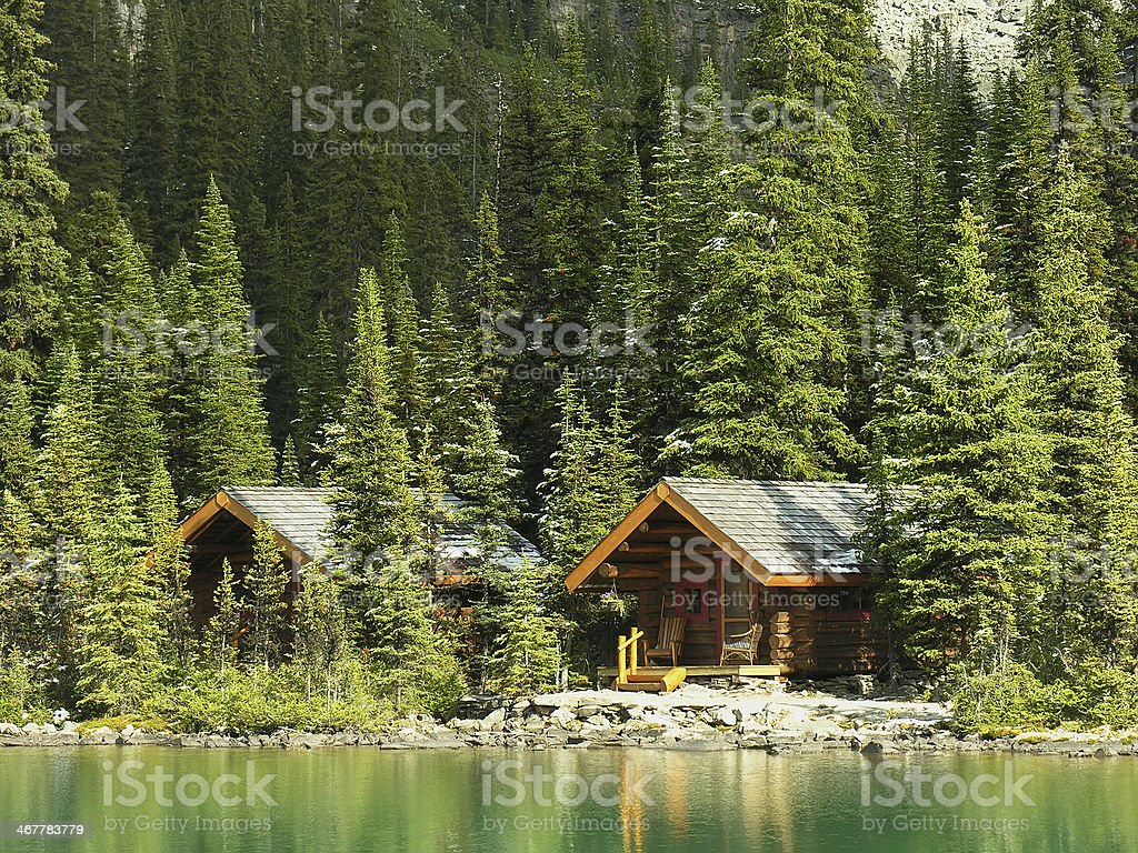 Wooden cabins at Lake O'Hara, Yoho National Park, Canada stock photo
