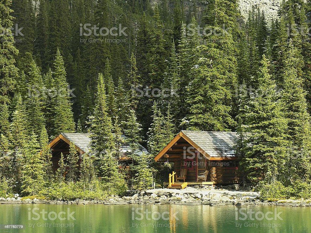 Wooden cabins at Lake O'Hara, Yoho National Park, Canada stock photo