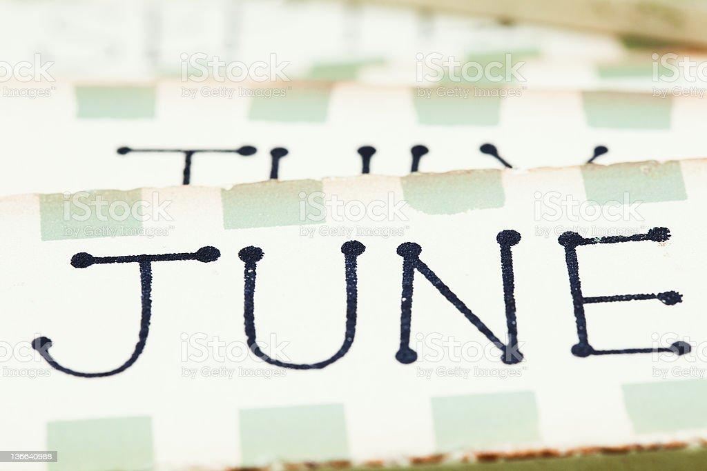 wooden calendar blocks june royalty-free stock photo