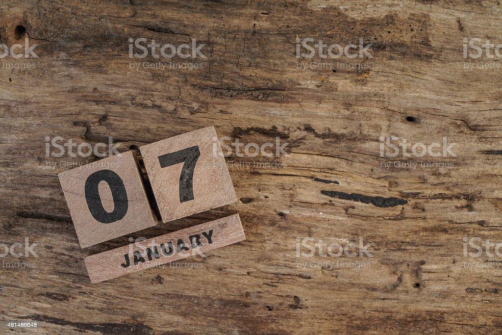 wooden calendar for january stock photo