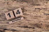 wooden calendar for october