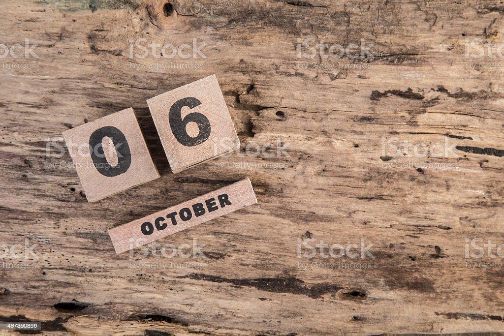 wooden calendar for october stock photo
