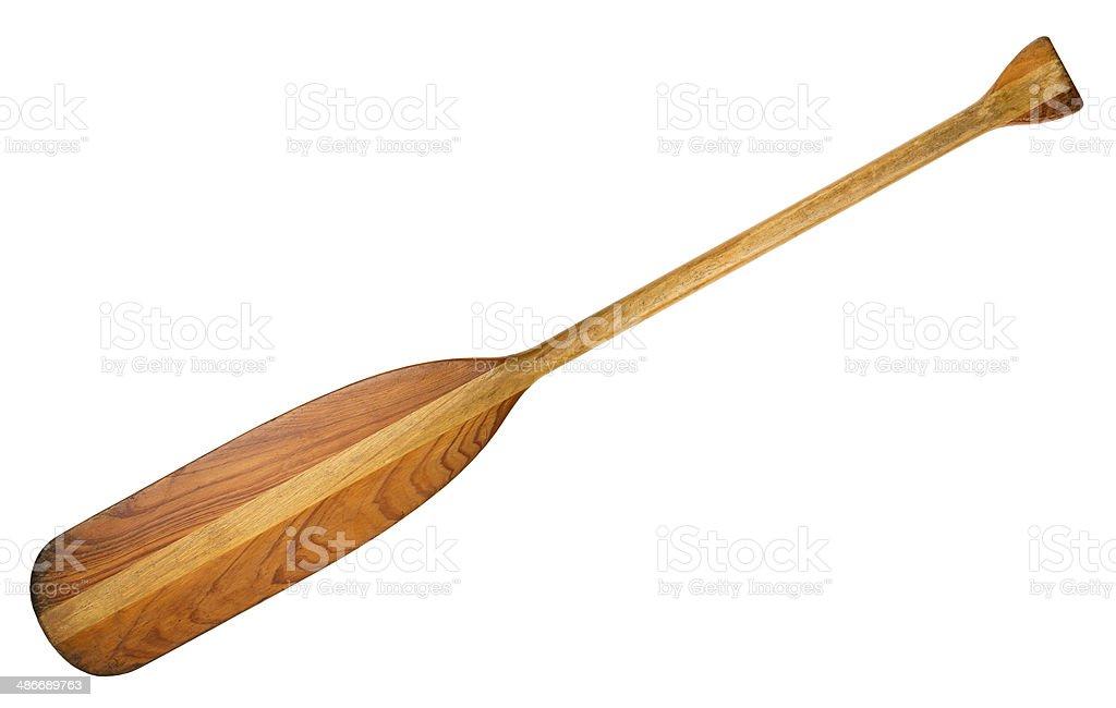 wooden canoe paddle stock photo