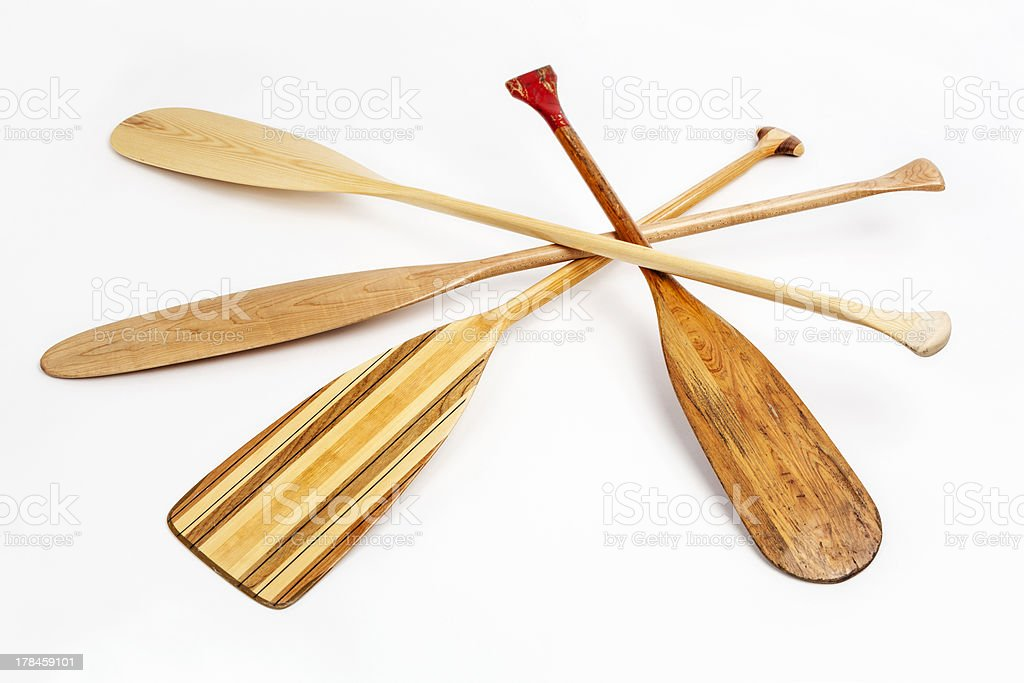 wooden canoe paddles royalty-free stock photo