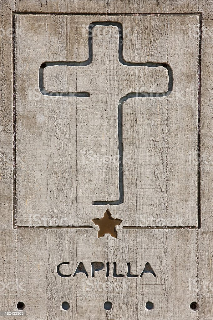 Wooden Capilla Sign, Chapel, Mexico, Cross, Detail, Vertical royalty-free stock photo