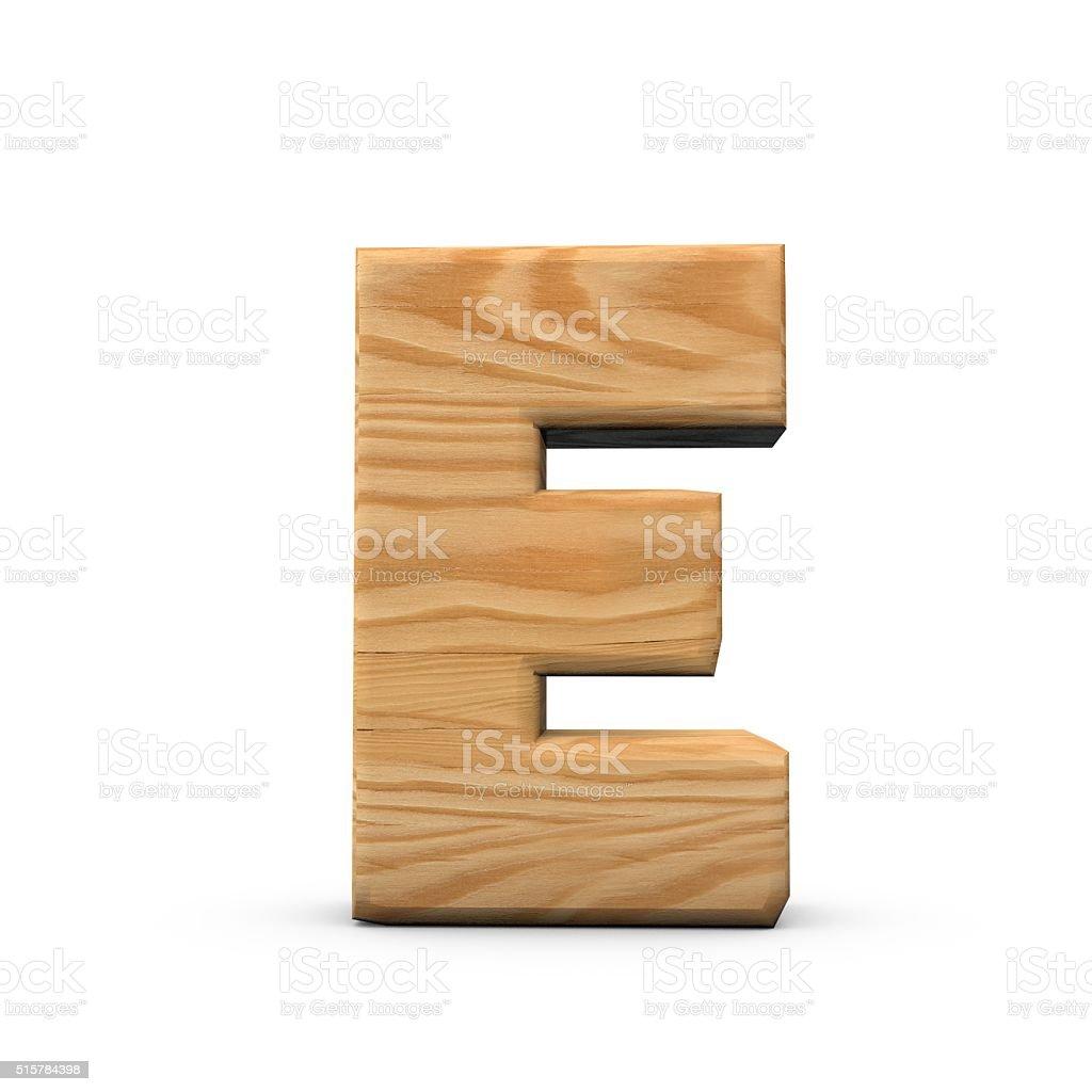 Wooden Capital letter E stock photo