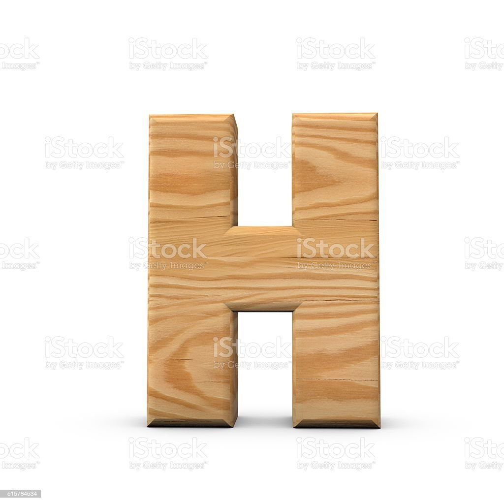 Wooden Capital letter H stock photo