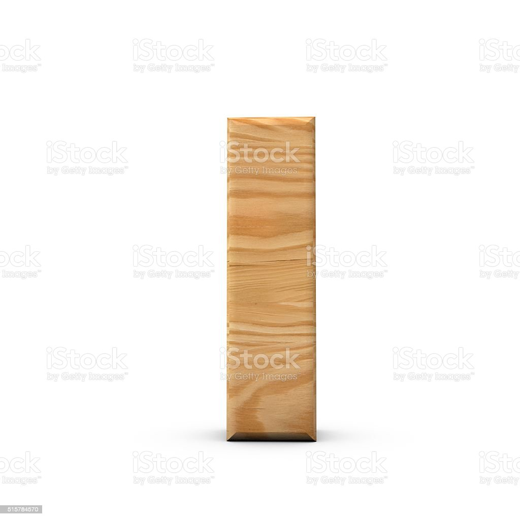 Wooden Capital letter I stock photo