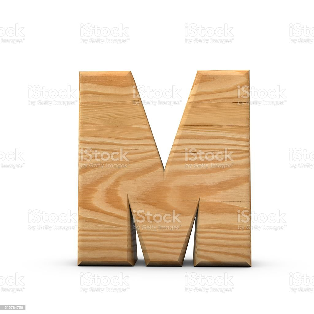 Wooden Capital letter M stock photo
