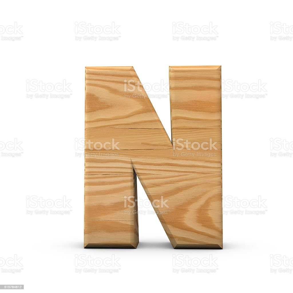 Wooden Capital letter N stock photo