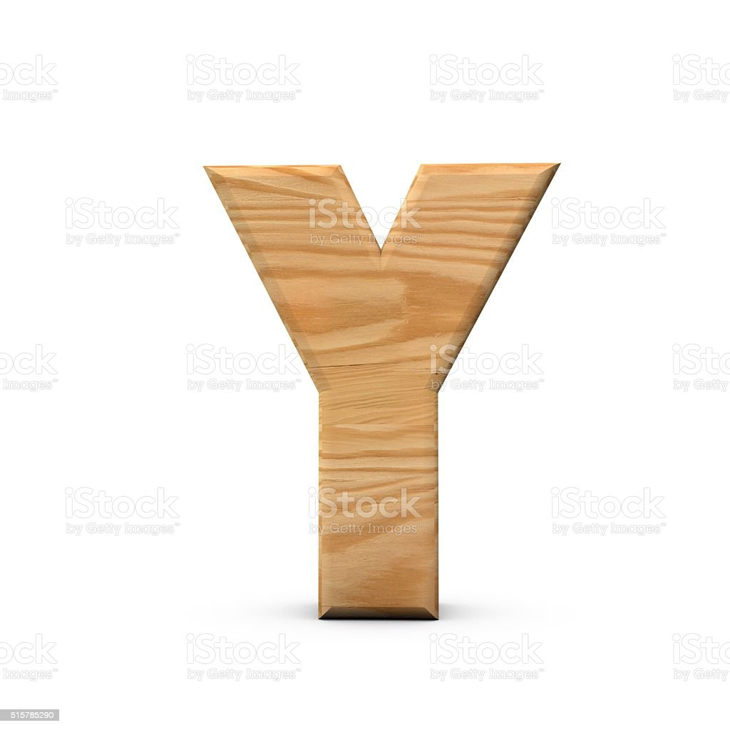 Wooden Capital letter Y stock photo