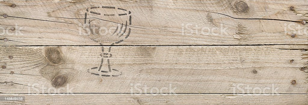wooden cargo box  with old fragile symbol XXL royalty-free stock photo