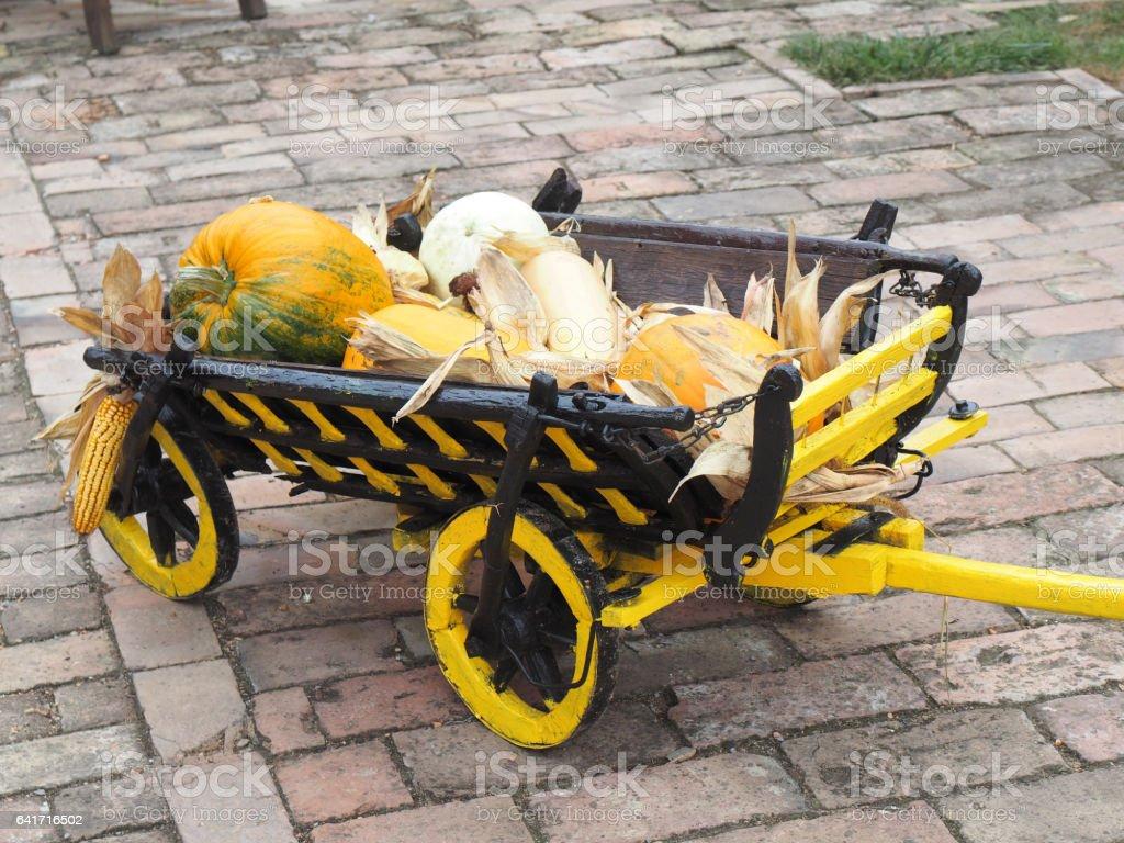 wooden cart stock photo
