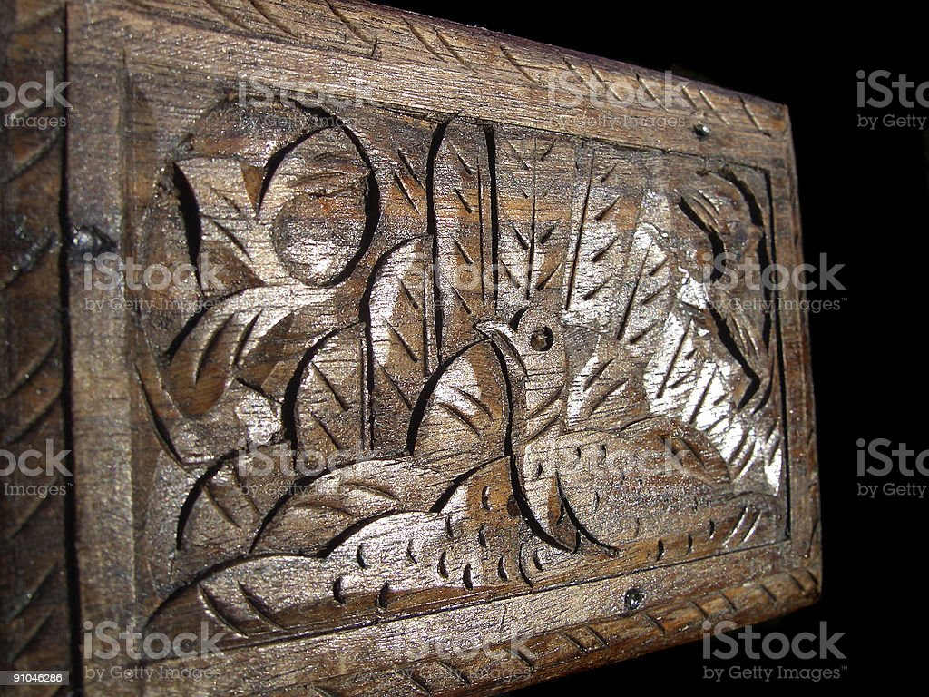 Wooden carved box royalty-free stock photo