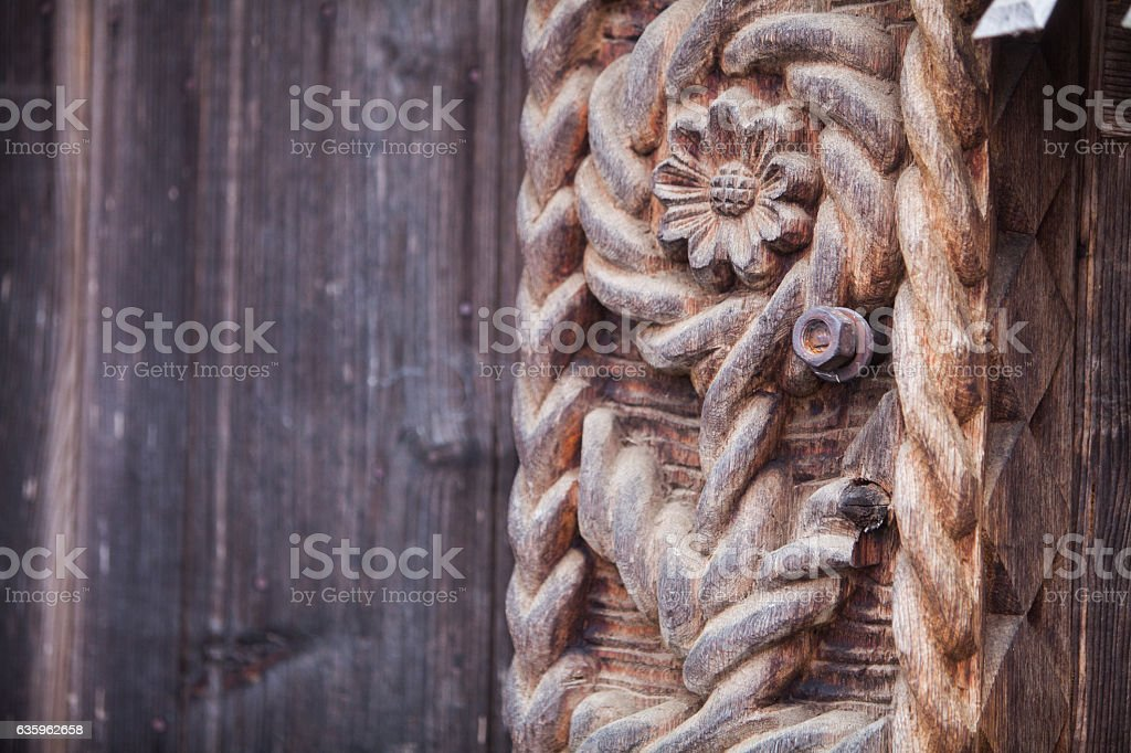 Wooden carved column stock photo