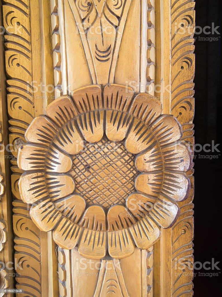 Wooden carving, Royal Palace, Mandalay, Myanmar stock photo