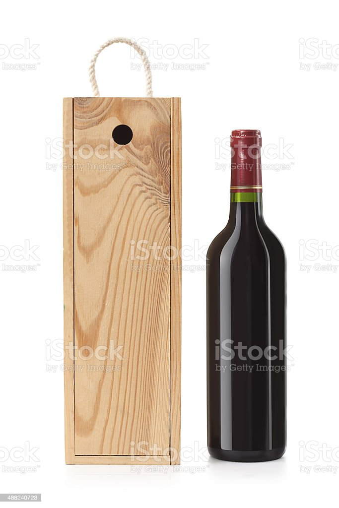 Wooden case with wine bottle stock photo