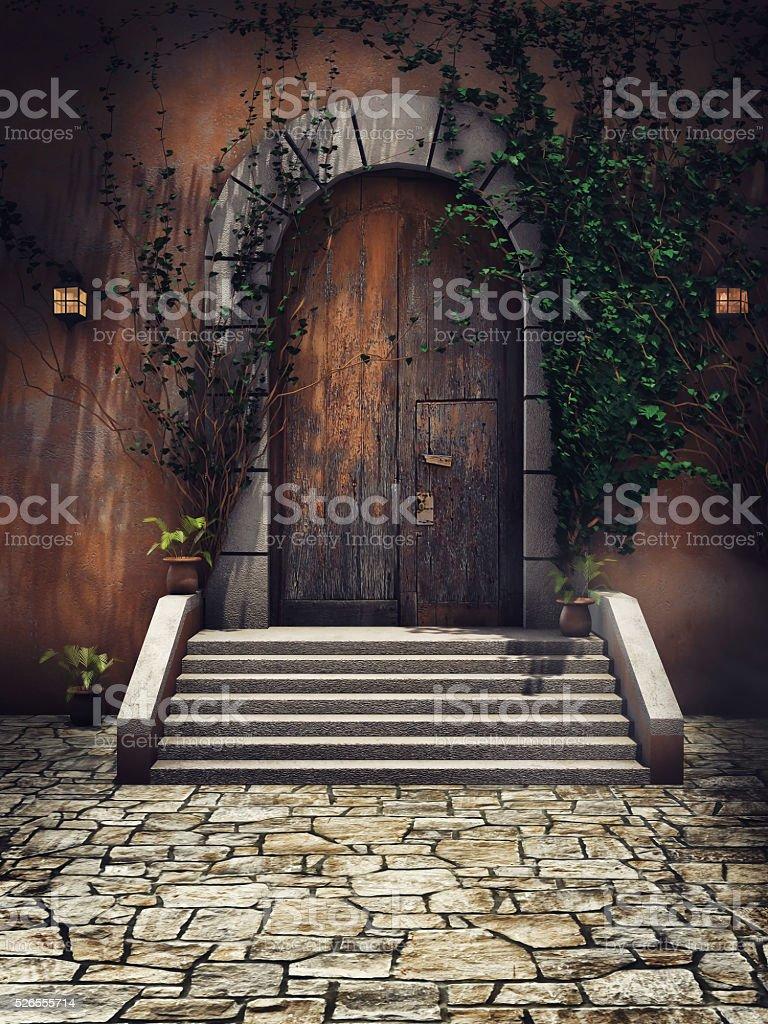 Wooden castle door stock photo