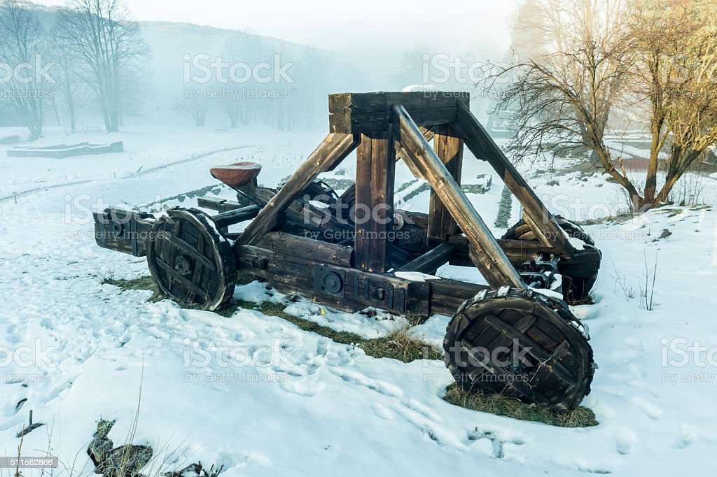 Wooden catapult stock photo
