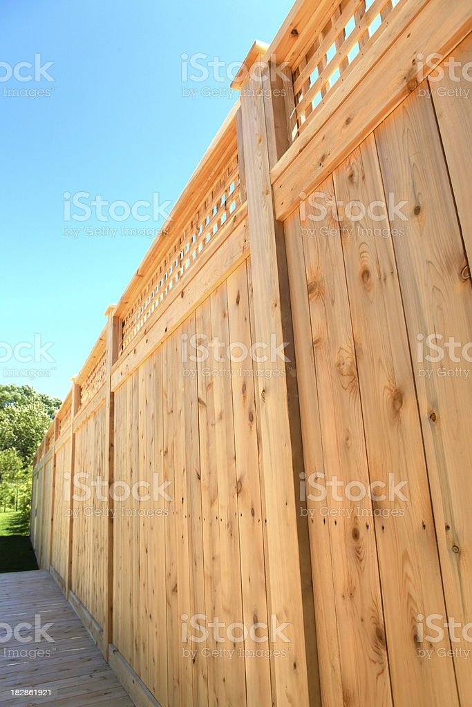 Wooden Cedar Fence royalty-free stock photo
