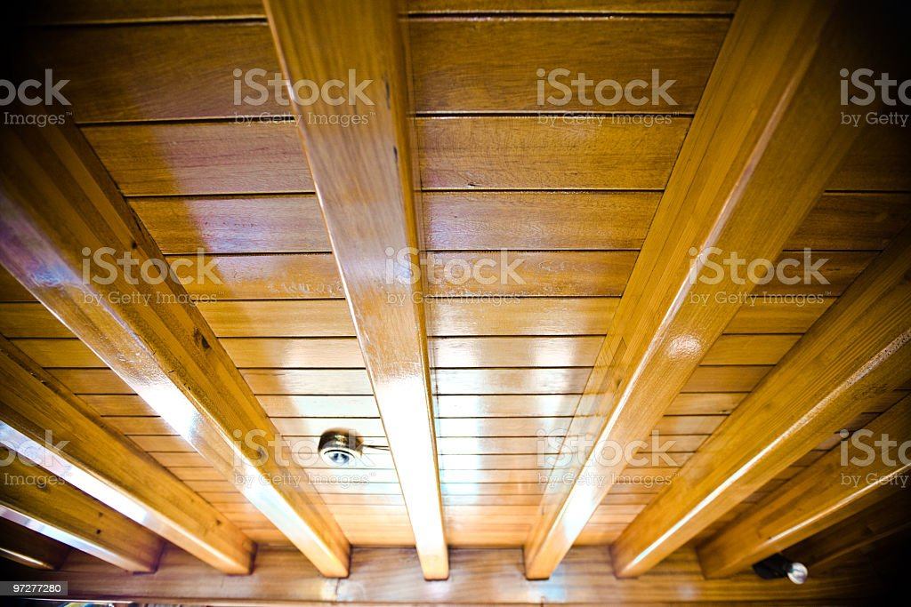 Wooden ceiling close up stock photo