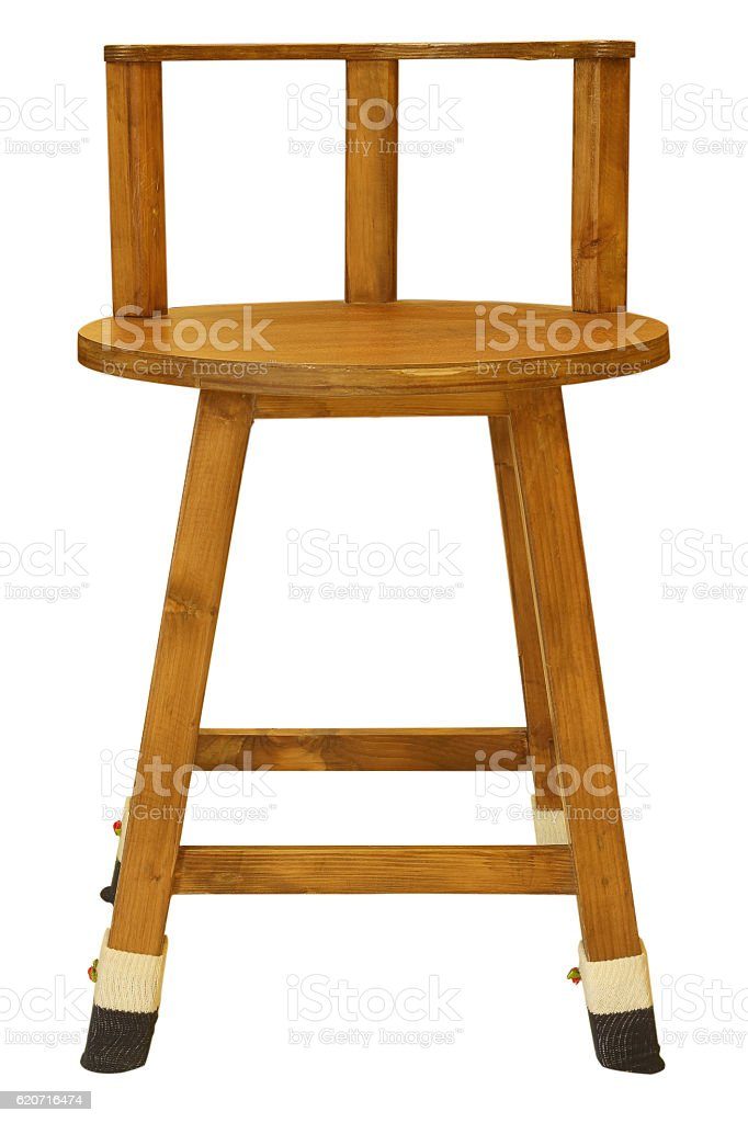 wooden chair isolated on white background stock photo