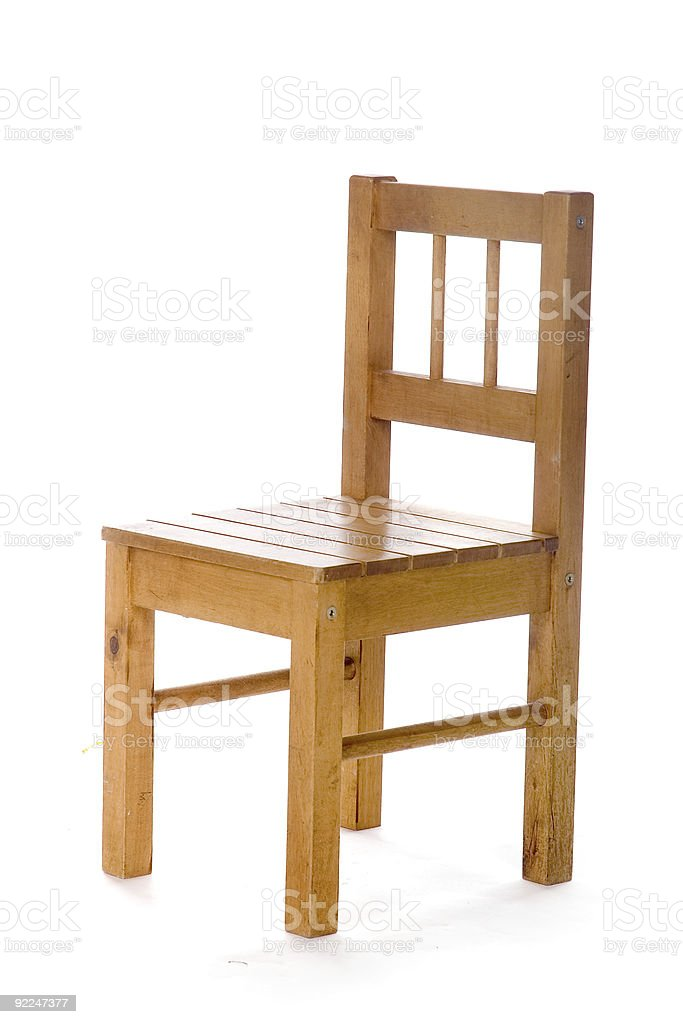 A wooden chair on a white background stock photo