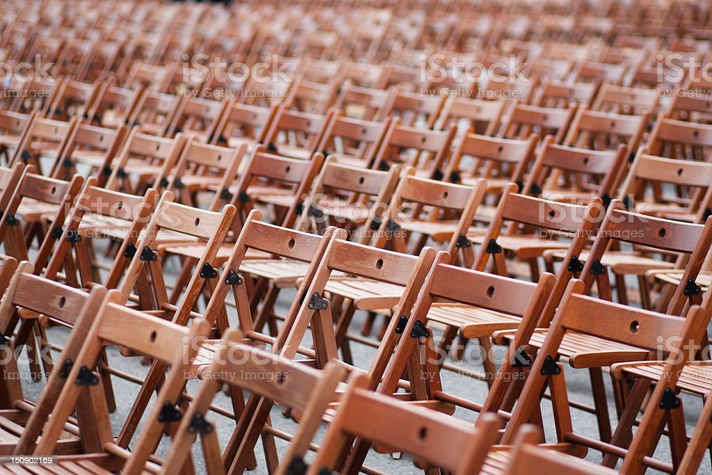 Wooden chairs before concert stock photo