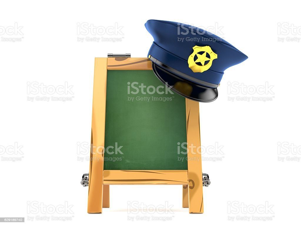 Wooden chalkboard with police hat stock photo