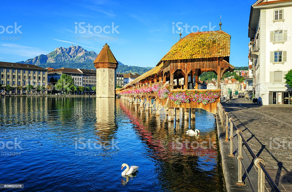 Wooden Chapel Bridge and Water Tower int Lucerne, Switzerland stock photo
