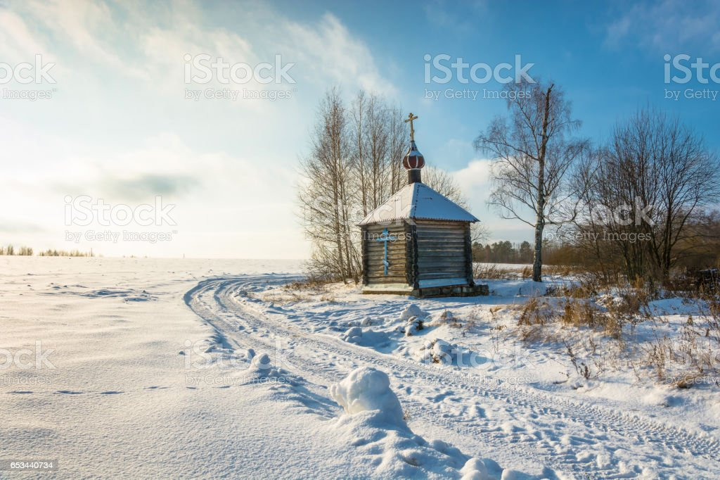 Wooden chapel of the Holy source of the Tikhvin icon of the Mother of God. stock photo