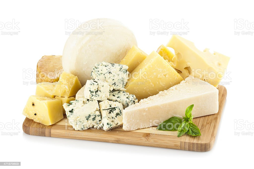 Wooden cheese board isolated on white backdrop stock photo