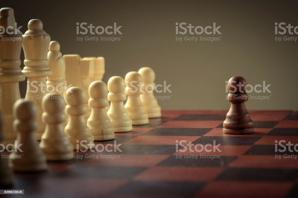Wooden chess figures, business concept strategy stock photo