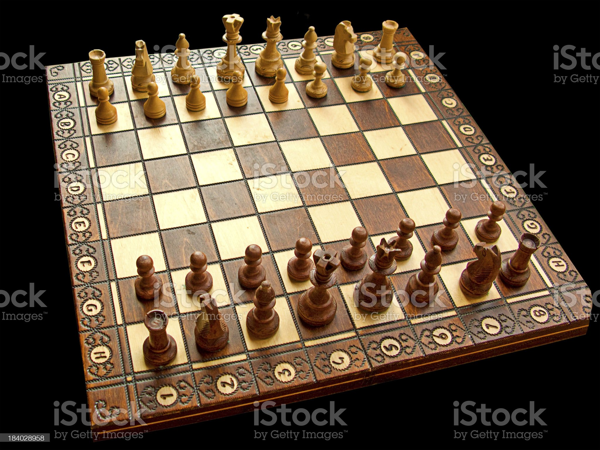 Wooden chessboard royalty-free stock photo