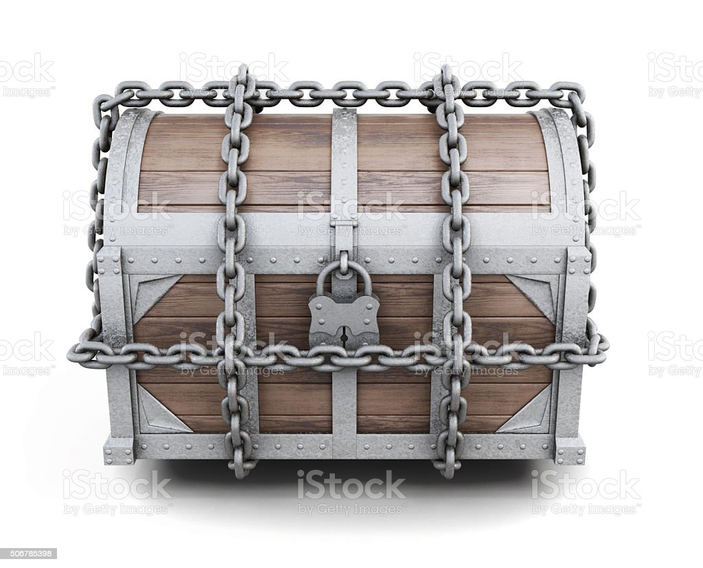 Wooden chest entangled chains. 3d rendering. stock photo