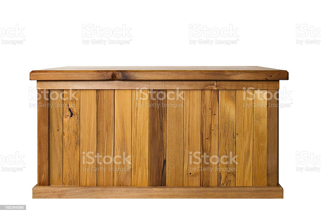 Wooden chest (isolated, with path) stock photo
