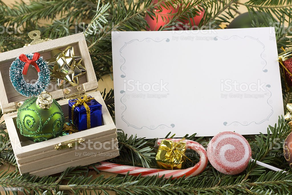 wooden chest with blank Christmas card royalty-free stock photo